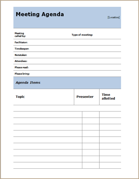 MS Word Informal meeting agenda template