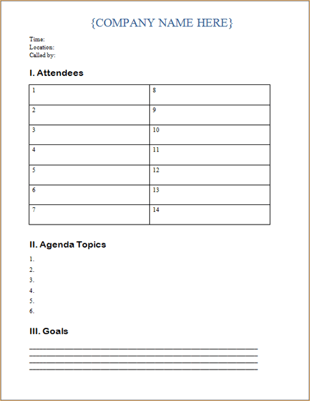 Microsoft Word Business Meeting Agenda Template