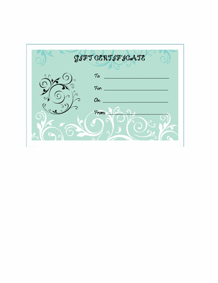Gift Certificates – Word Gift Card Template
