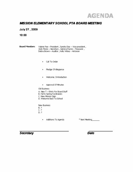 PTA Agenda Template Agenda Templates – Ms Word Agenda Template