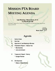 Mission PTA Board Meeting Agenda Template | Agenda ...