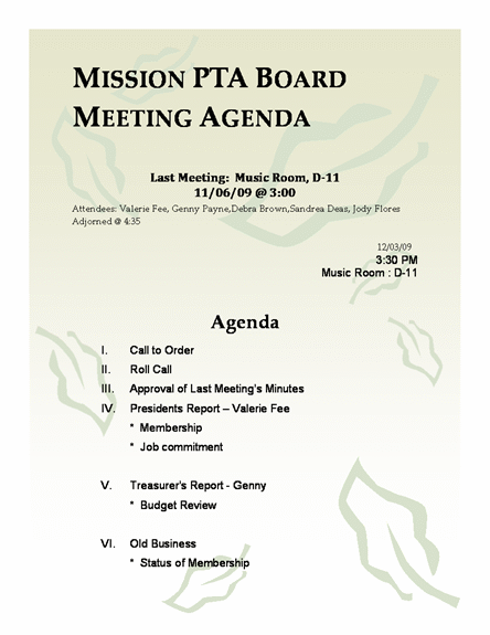 Mission PTA Board Meeting Agenda Template - Microsoft Word 2007