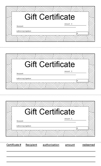gift certificate 8 5 x 14 black and white with tracking tab gift