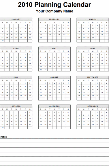 Yearly Planner Calendar Template Microsoft Excel Calendars
