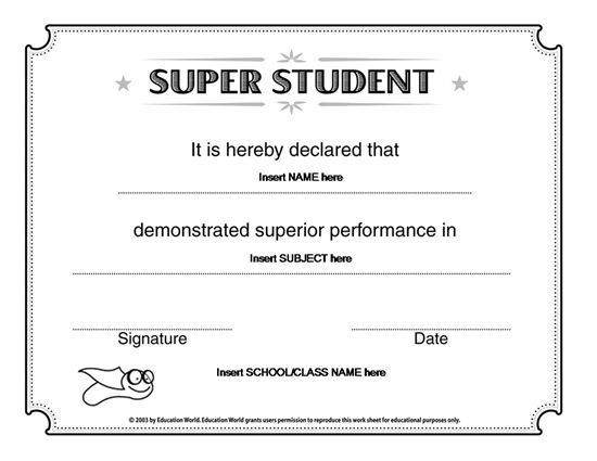Microsoft word super student certificate template award for Downloadable certificate templates for microsoft word