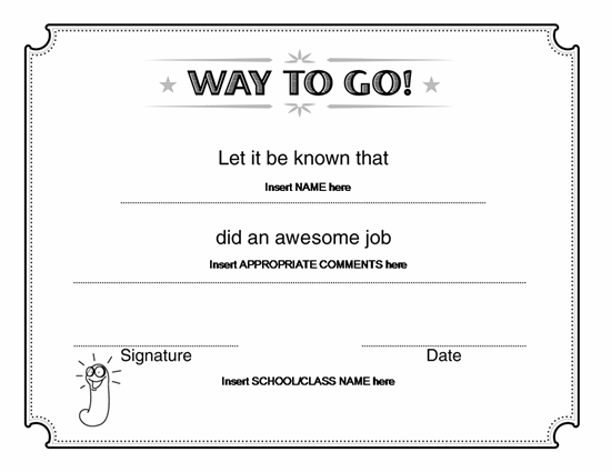 Way To Go Award Certificate Microsoft Word – Microsoft Word Award Template