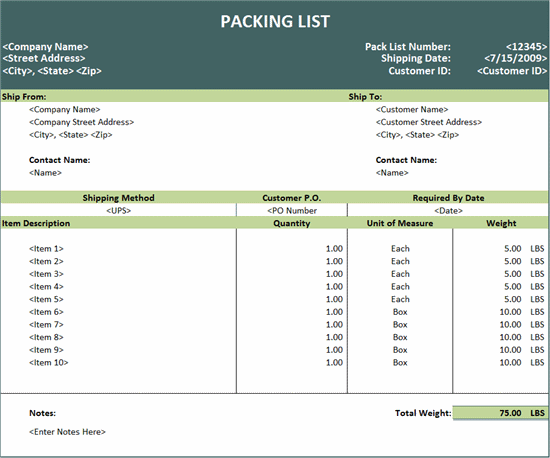 Packing List Template Excel