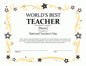 National teacher s day certificate microsoft publisher for Vesting certificate template