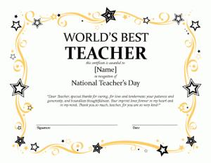 national teachers day certificate � microsoft publisher