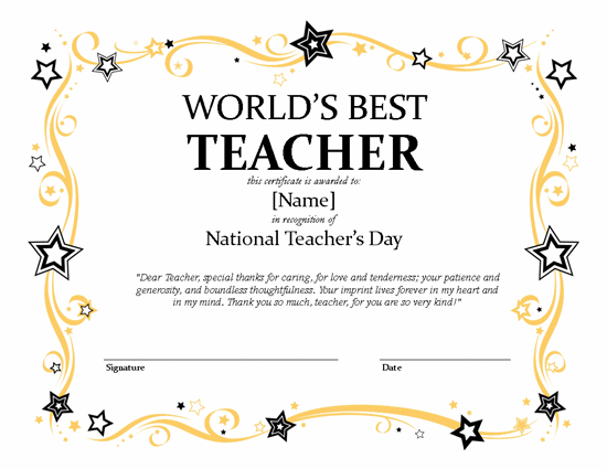 National Teacher's Day Certificate – Microsoft Publisher 2007 ...