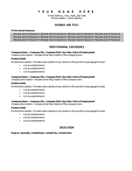 keyword resume template with shading resumes and cv templates