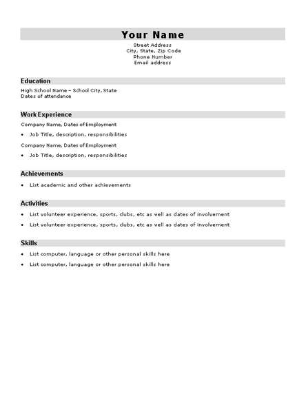 High school student resume sample resumes and cv for Free resume for high school student