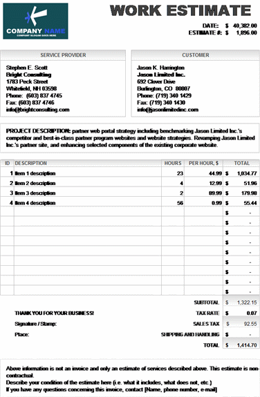 work estimate invoice calculates total � microsoft excel