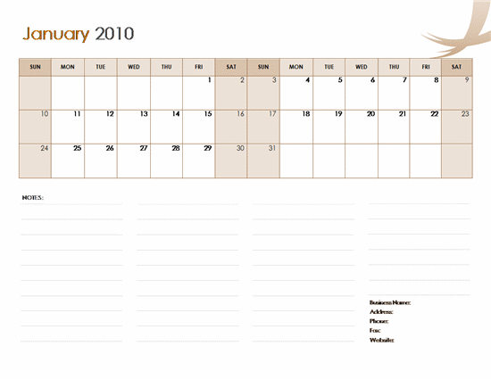 2010 Business Calendar U2013 Microsoft Word Template  Office Template Calendar