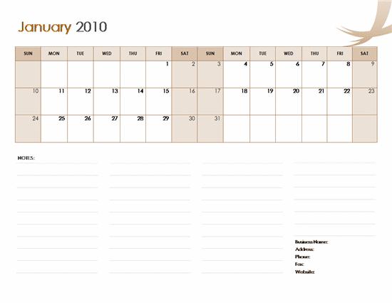 microsoft office word calendar templates