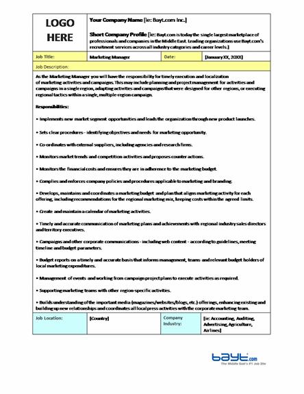 marketing manager  u2013 job description template