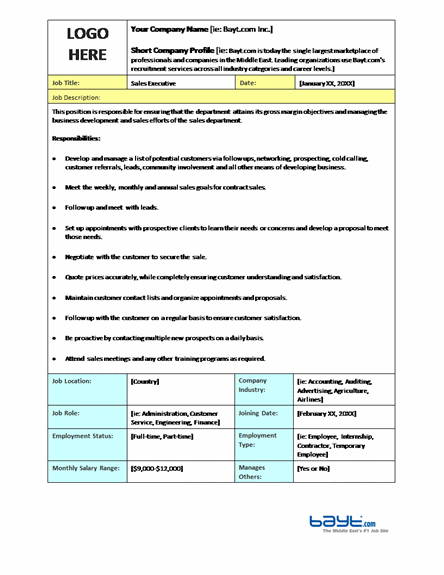 Job Description Templates – Word Job Description Template