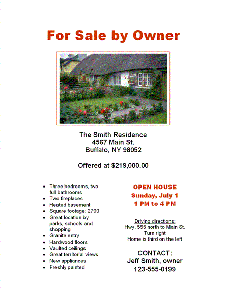 beautiful easy to use for sale by owner flyer