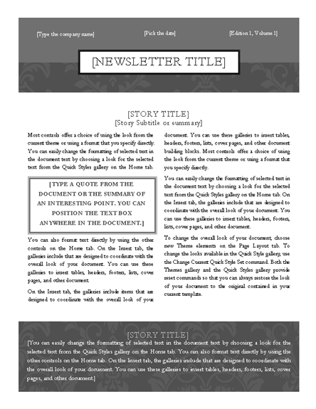 click the black button bellow to download this newsletter template created in microsoft word