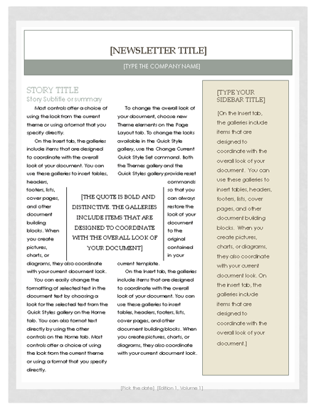 Free Newsletter Template Microsoft Word Newsletter
