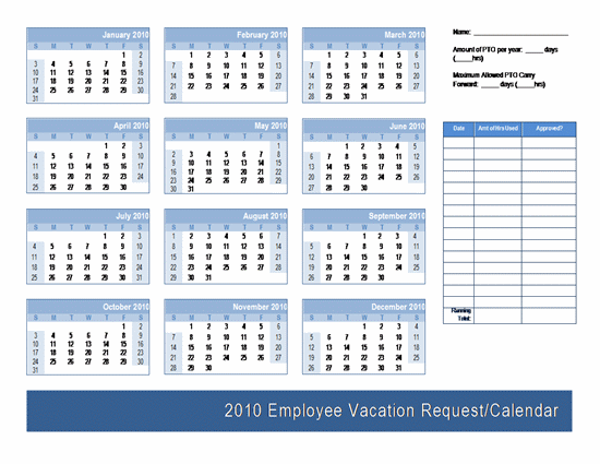 Employee Vacation Request / Calendar Template