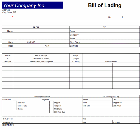 Bill Of Lading Invoice Template Excel 2007 Invoice Template – Bill of Lading Template