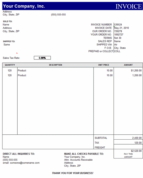 Free Invoice Template – Simple And Easy To Use | Invoices | Ready ...