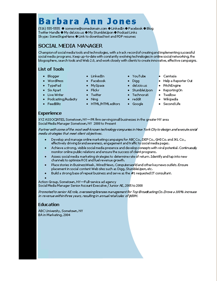 Microsoft Word Social Media Manager Resume Template | Resumes and CV ...