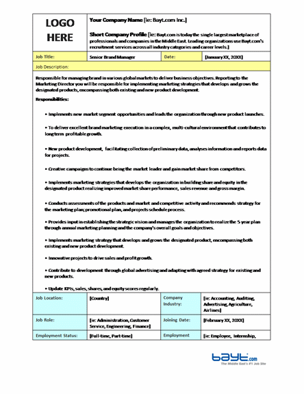 Job description templates ready made office templates for Template for job description in word