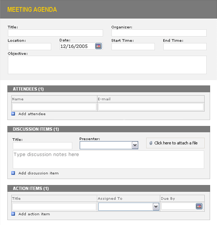 Web Form Style wonderful easy to use Meeting Agenda Template