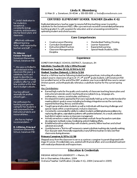Elementary school teacher resume – Free CV/Resume Template | Resumes ...