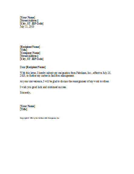 Basic Yet Professional Resignation Letter – Professional Resignation Letter Template