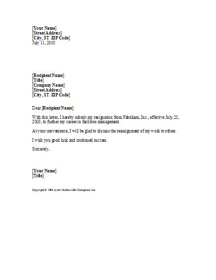 Basic Yet Professional Resignation Letter