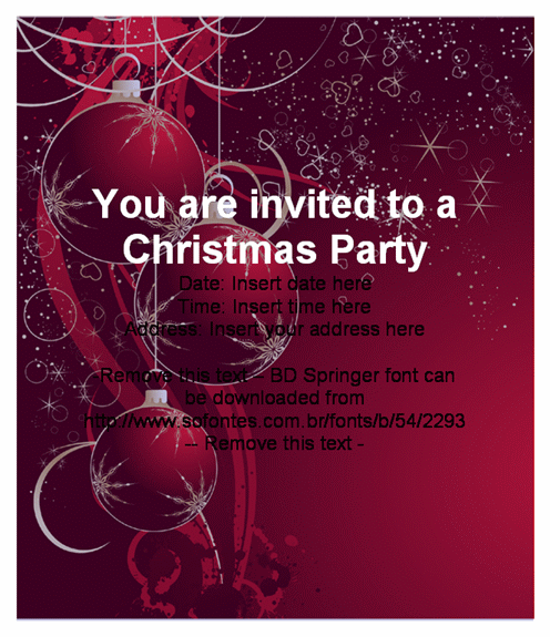 Beautiful Christmas Party Invitation Card – Office Christmas Party Invitation Template