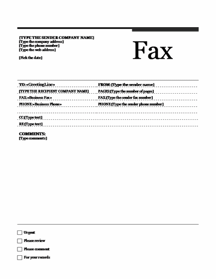 ms office fax template