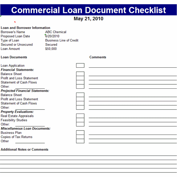 Commercial Loan Document Checklist Template – Sample Loan Documents