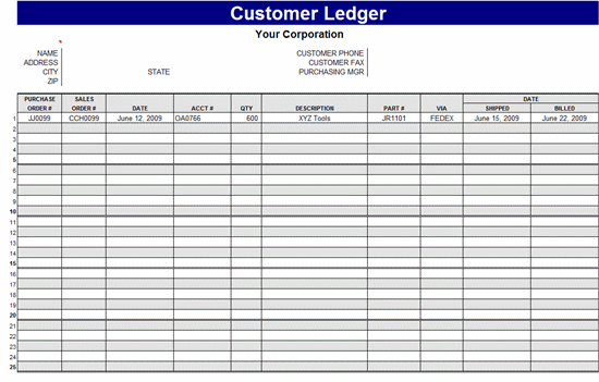 Free Ledger Templates | Office Templates | Ready-Made Office Templates