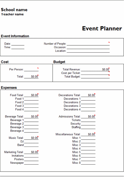 ms excel event planner template ms excel templates ready made