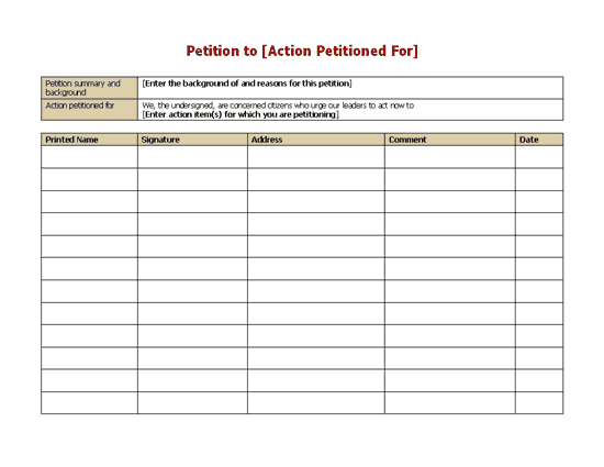 Petition form word templates ready made office templates for Petition template to print