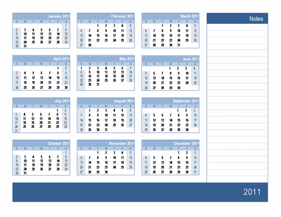 Year Calendar 2011 with Notes