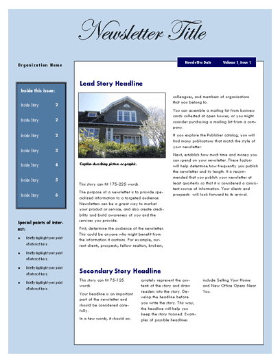 Free Real Estate Newsletter Template – Templates for a Newsletter