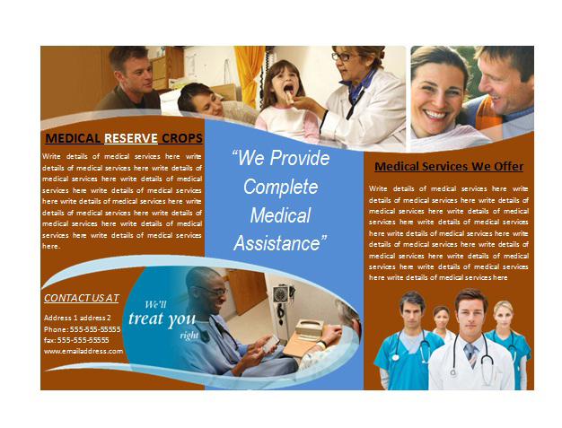 Medical brochure template for medical services brochures for Medical office brochure templates