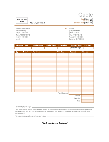 Sample Sales Quotation Invoices – Sample Quotation
