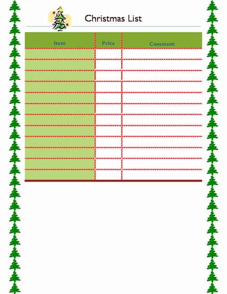 download xmas shopping list template