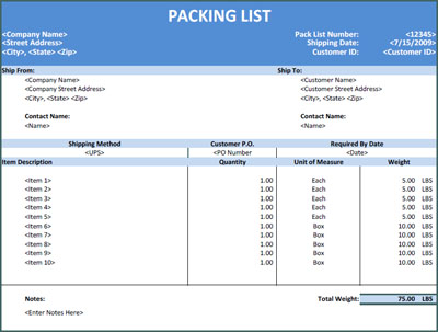 Sample Excel Packing List  Invoices  ReadyMade Office Templates