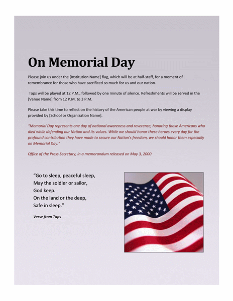 Award certificates ready made office templates 5 best memorial day templates yelopaper Image collections