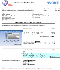 progressional billing invoice for consultants