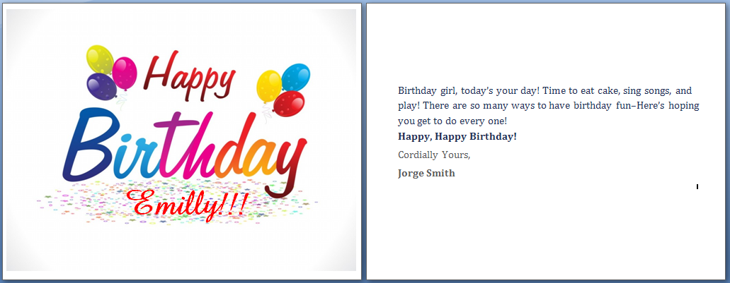 Girl Friend Happy Birthday Card Two Sides