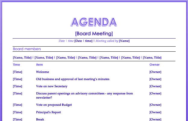 Conference Call Agenda Template  Professional Agenda Templates
