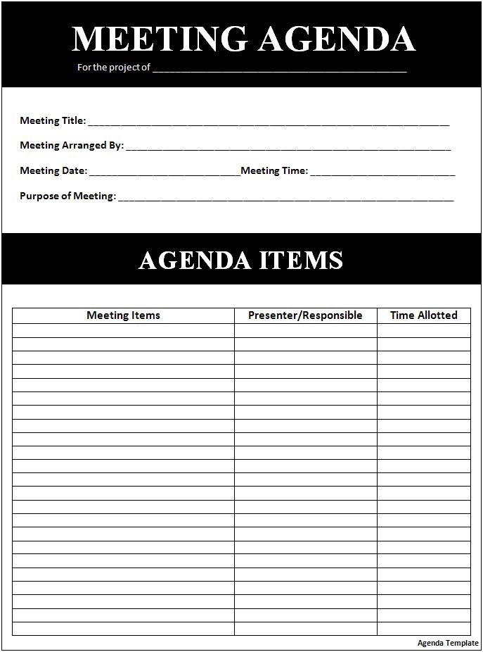 professional meeting agenda template .